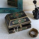 Valentine Day Gifts Decorative Wooden Necklace Watch Bracelet Holder Box Keepsake Jewelry Trinket Holder Storage Organizer with Hand Painted Floral Design