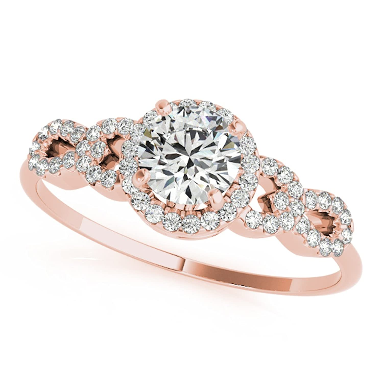 0.50 Ct Halo Diamond Engagement Ring 14K Solid Rose Gold