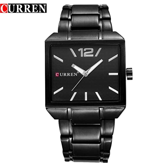 Curren 8132 Fashion Square Hombres y Mujeres Cinturón de Acero Neutral Reloj Resistente al Agua Reloj de Cuarzo Ocasional Reloj Impermeable: Amazon.es: ...
