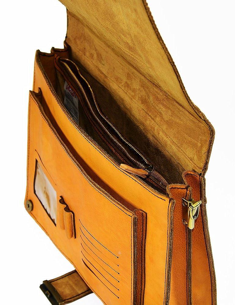 PEZON Triple Orange Genuine Leather Handmade Business Bag