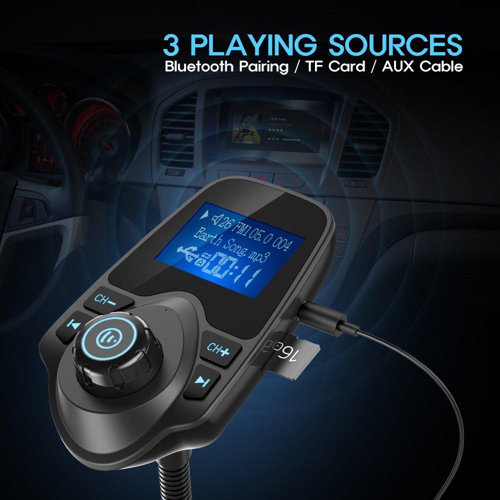 Nulaxy Bluetooth Car FM Transmitter Audio Adapter Receiver Wireless Handsfree Voltmeter Car Kit TF Card AUX 1.44 Display - KM18 Black