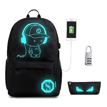 aad877f785b Luminous Backpack with USB, Gracosy Cool Boys Girls School Bag Laptop  Backpacks Fashion Daypacks Gowl