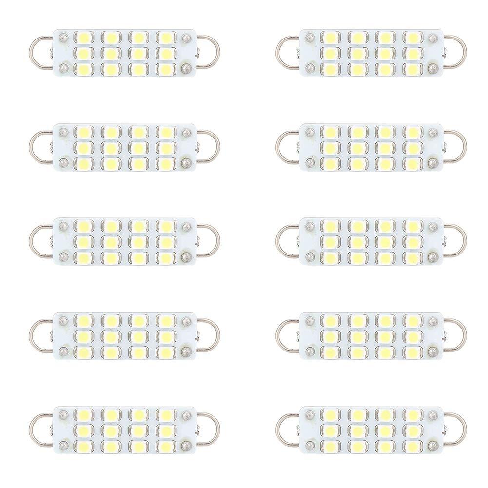 Aramox Car Lamp Bulb,10pcs Auto Car Dome Reading 44mm 12-LED Light Bulbs Interior Panel Dashboard Lamp