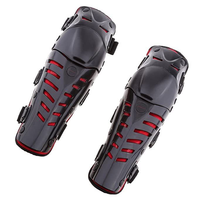 H HILABEE Adults Motorcycle Motocross Knee Shin Guards Pads Brace Protector Gear Red