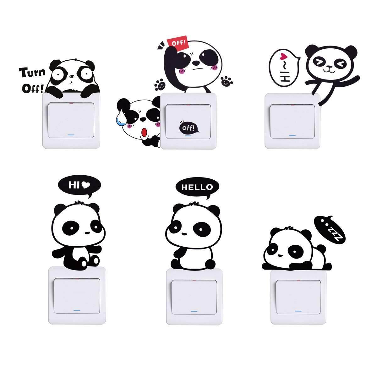 HopMore Pegatinas 6 Piezas Lindo Panda, Stickers para Infantil, Decorativa Pegatina para Pared Maleta Interruptor Macbook Laptop Snowboard Equipaje Coche de la bici Tabla iPhone