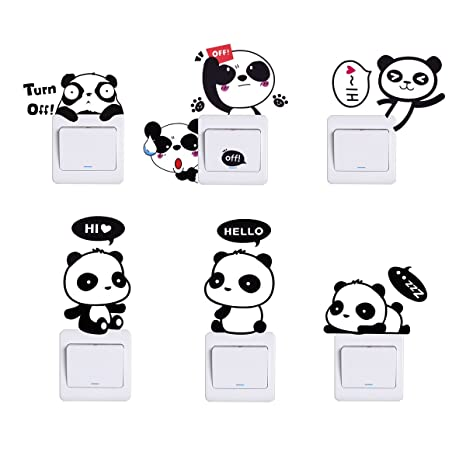 HopMore Pegatinas 6 Piezas Lindo Panda, Stickers para Infantil, Decorativa Pegatina para Pared Maleta