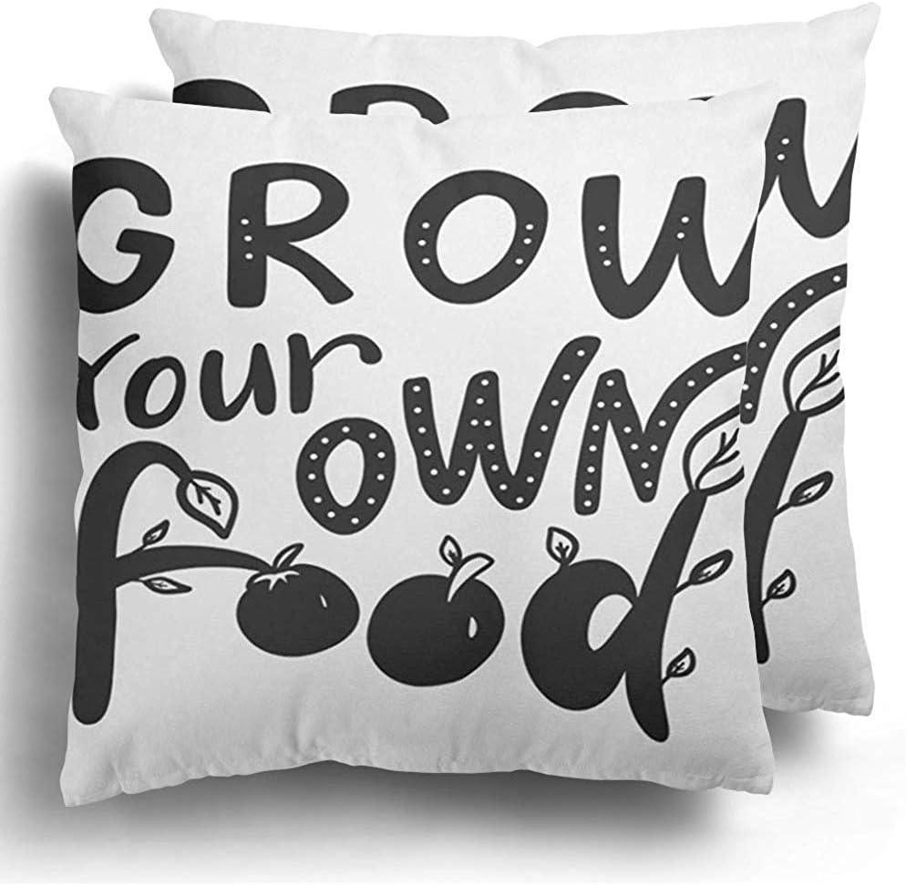 Federa da cuscino Set di 2 mele coltivare il proprio cibo Frase motivazionale Lettering badge Ramo Cuscino in poliestere disegnato Cuscino per divano letto Decor 45X45 cm