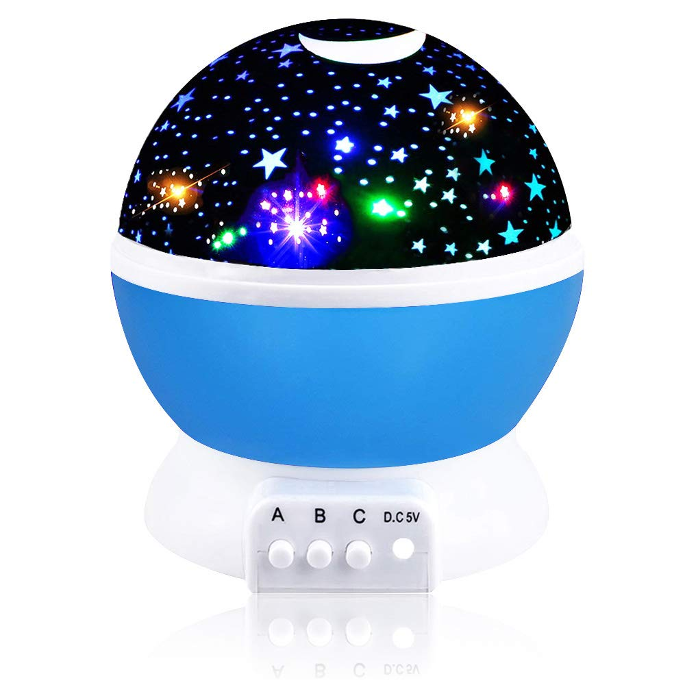 Our Day Night Light Moon Star 360 Degree Rotation Unique Best Gifts for Kids 2-10 Year Old Boy Gifts