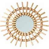 Rattan Wall-Mounted Mirror, Large Round Hanging Mirror for Living Room, Dressing, Bathroom and Bedroom