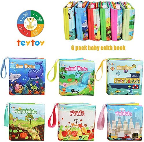 teytoy My First Soft Book, Nontoxic Fabric Baby Cloth Books Early Education Toys Activity Crinkle Cloth Book for Toddler, Infants and Kids Perfect for Baby Shower -Pack of 6 WeeklyReviewer