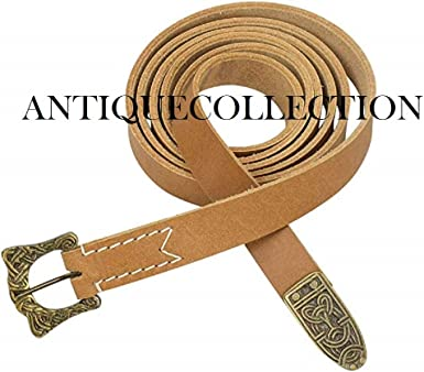 Armor Natural Leather Viking Belt with Knotwork Buckle and Chape Brown