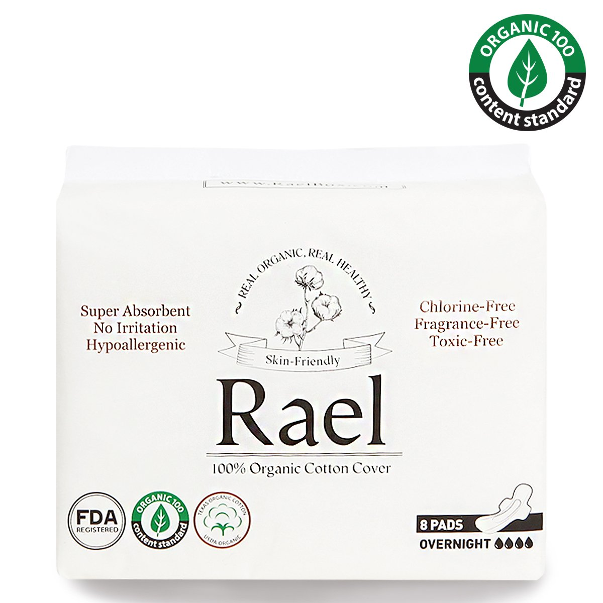 Rael serviettes hygié niques menstruelles de coton organique - serviettes hygié niques normales minces avec des ailes (3 Pack de 8 tampons) RAEL-O-03-V