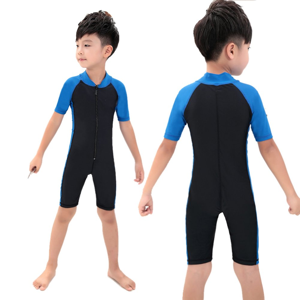Gardening Spring-swimwear Children Boys One-Piece Short-Sleeve Swimsuit Uv Protection