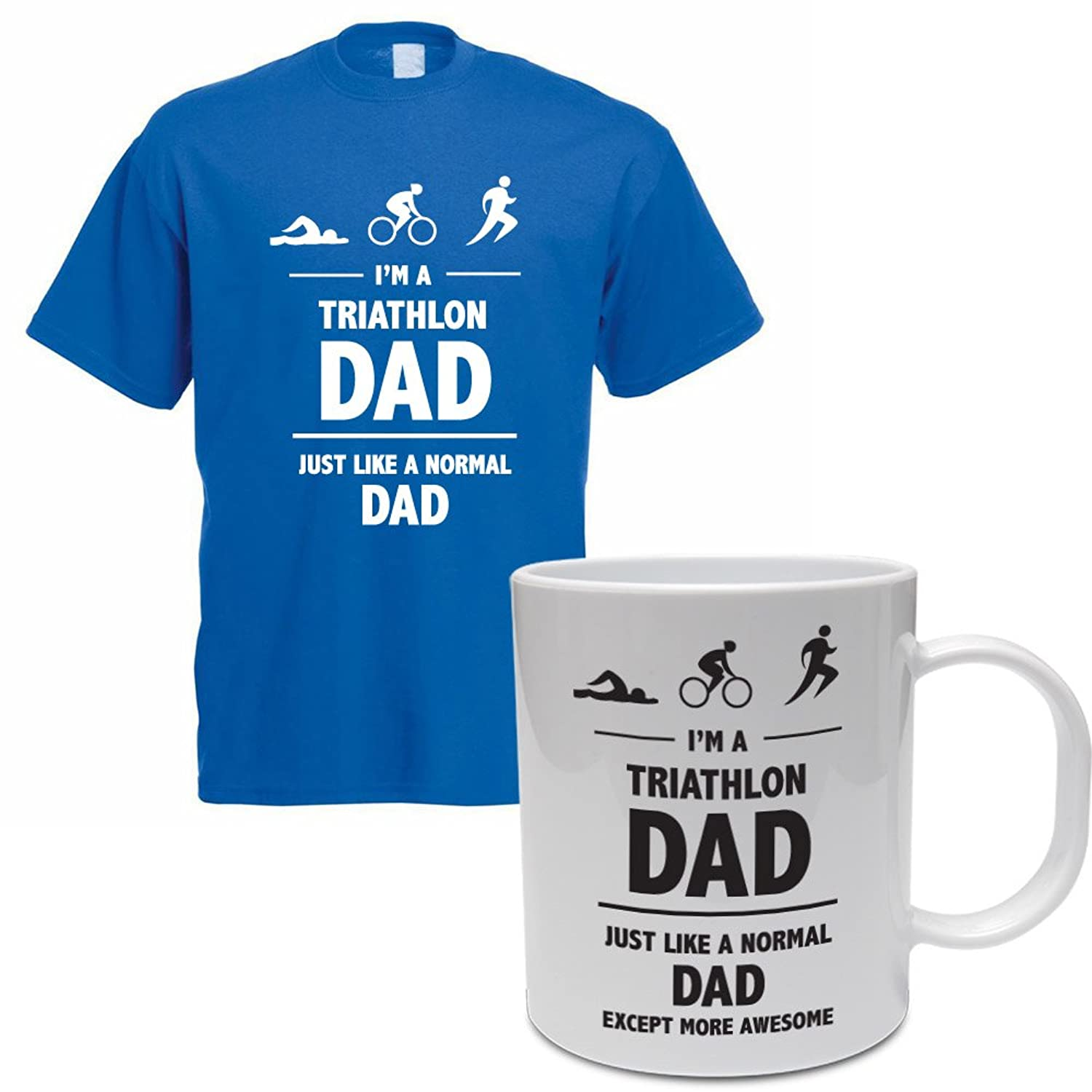I'M A TRIATHLON DAD - Father's Day / Sporting / Funny Gift Idea / Men's T-Shirt And Ceramic Mug Gift Set