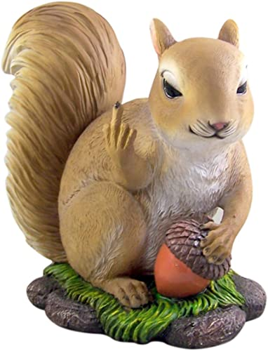DWK Humorous Angry Squirrel Painted Resin Garden Statue