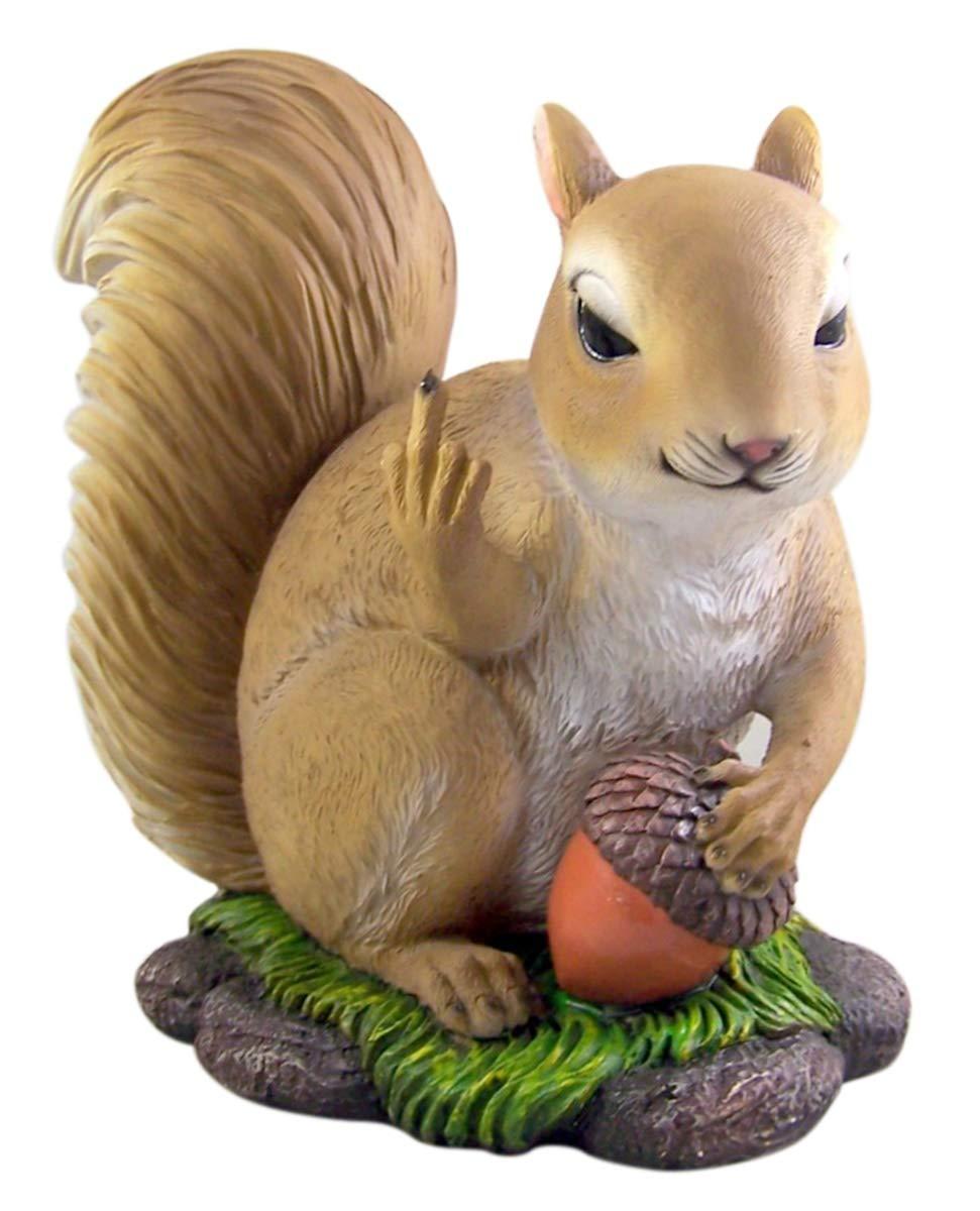 DWK Nutty Squirrel Flipping The Bird Resin Garden Statue, 10 Inches
