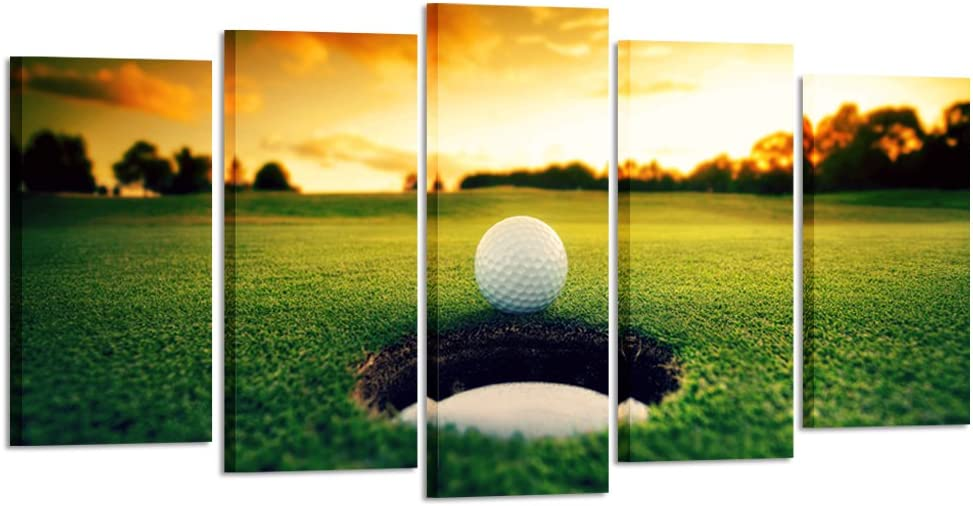 Kreative Arts - Golf Course Scenery Canvas Wall Art Contemporary Sunset Canvas Prints Framed Poster Prints for Home Decor 5 Panels Wall Decorations for Living Room Office (Large Size 60x32inch)