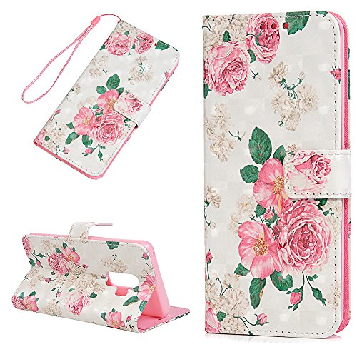 Galaxy S9 Plus Case, Flip Folio Kickstand Case Premium PU Leather TPU Inner Bumper 3D Basso-Relievo Painting Shockproof Hand Straps Purse Credit Card Slots Slim-Fit Protective Cover by YOKIRIN, Rose