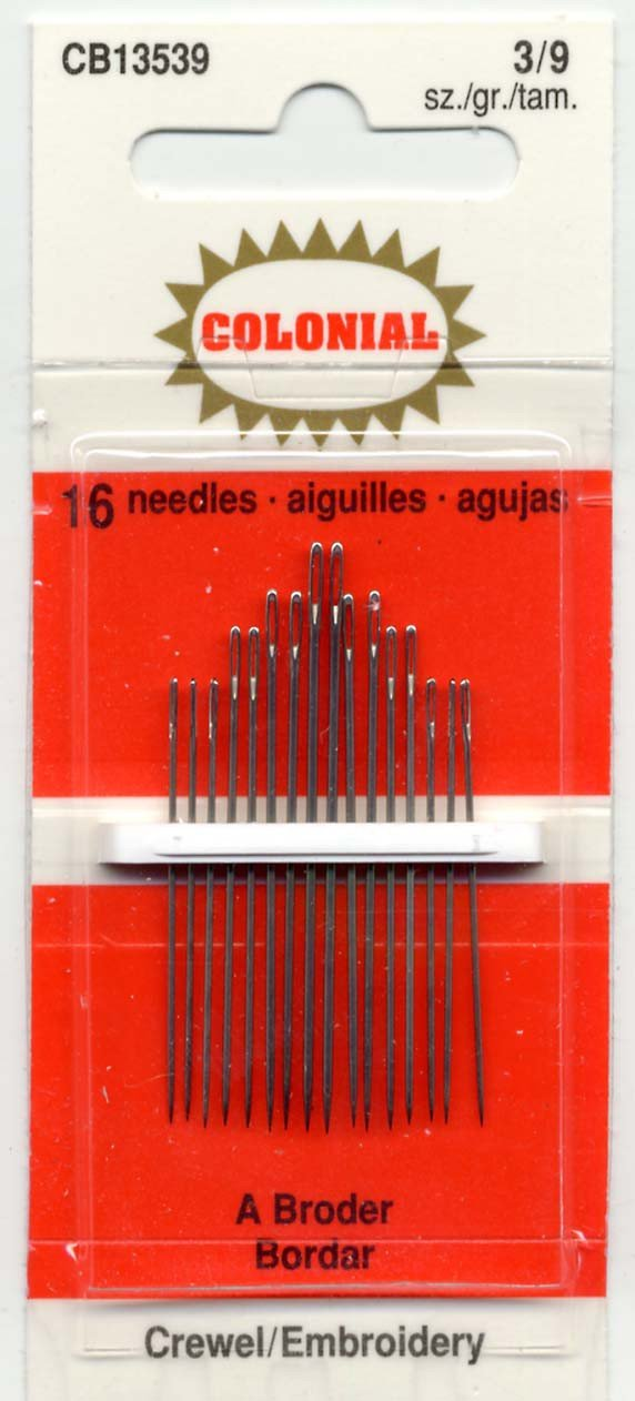 Colonial Needle CB135-3-9 16 Count Embroidery Needles, Size 3/9 Colonial Needle Co