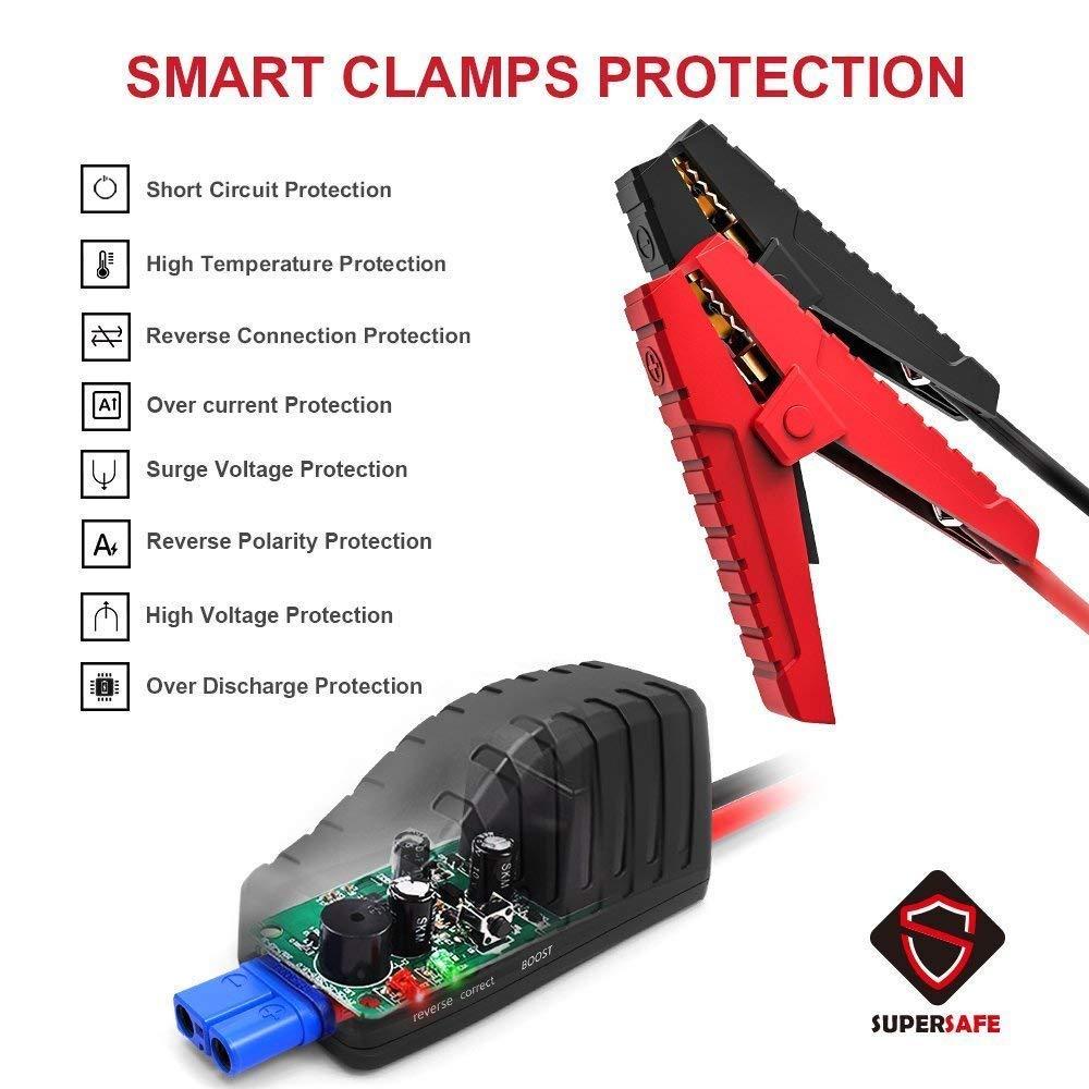 Arrancador de Baterias de Coche Jump Starter con Linterna LED hasta 4.5L en Gasolina GOOLOO Arrancador de Coche 500A Pico 10000mAh Arrancador Baterias Coche Carga R/ápida USB QC3.0