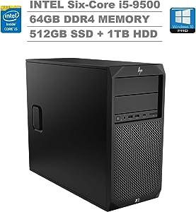 HP Z2 G4 Tower Workstation (Intel Six-Core i5-9500, 64GB DDR4 RAM, 512GB PCIe M.2 SSD + 1TB HDD) Type-C, 2 x Display Port, RJ-45, Built-in Speaker, DVD-RW, Keyboard and Mouse, Windows 10 Pro 64-bit