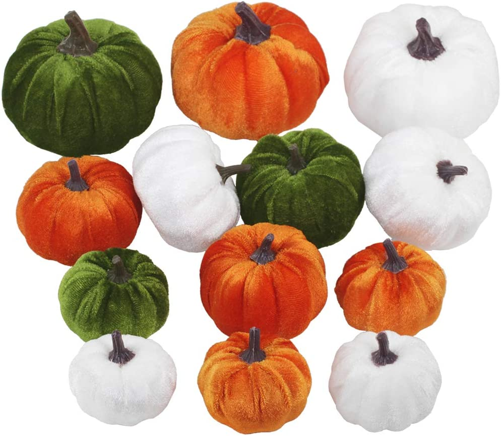 Winlyn 13 Pcs Assorted Mini Velvet Pumpkins Green Orange White Pumpkins for Halloween, Fall Thanksgiving Decorating Harvest Embellishing and Displaying