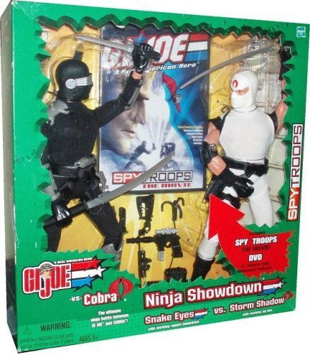 G.I. Joe 2003 Ninja Showdown SPY TROOPS The Movie Series 12 Inch Tall Action Figure Set - Snake Eyes with Working Rappel Equipment Versus Storm Shadow with Working Zip Line (Troop Equipment)