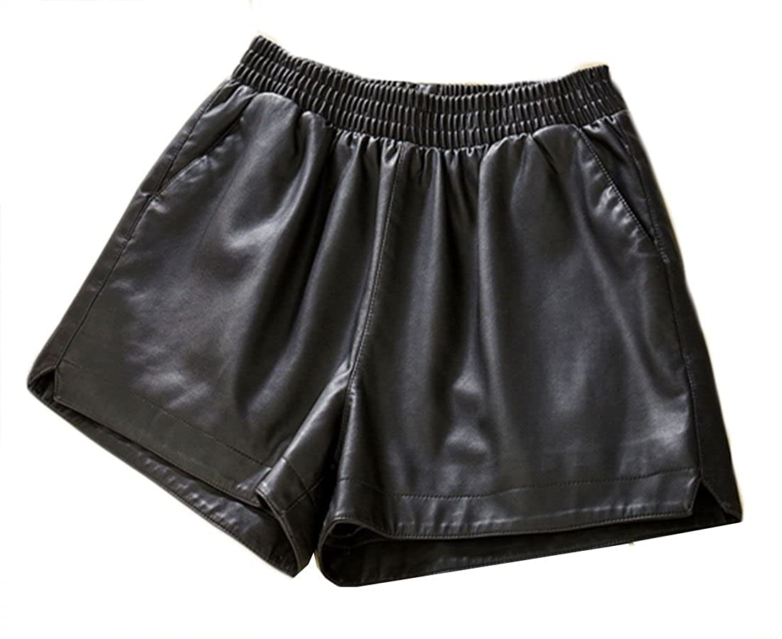 Abbyling68 Women's PU Faux Leather Elastic Waist Loose Leisure Time Black Shorts