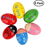 Accmor Wooden Egg Shakers, Wooden Percussion Musical Egg, Maracas Egg Shakers, Early Learning Toys for Kids, 6 Pcs