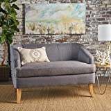 Christopher Knight Home 302074 Sheena Mid Century Modern Fabric Loveseat, Dark Grey/Natural