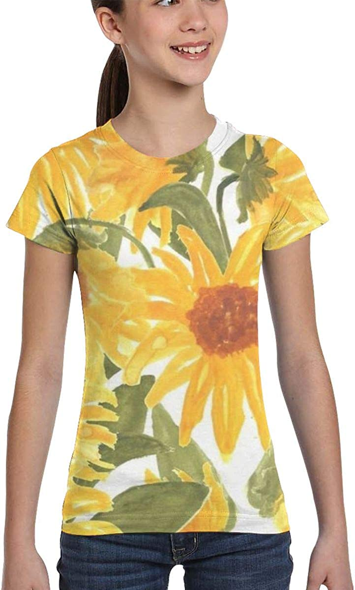 Girls Casual Loose Short Sleeve Sunflower Fashion Round Neck Tops Tee Shirts