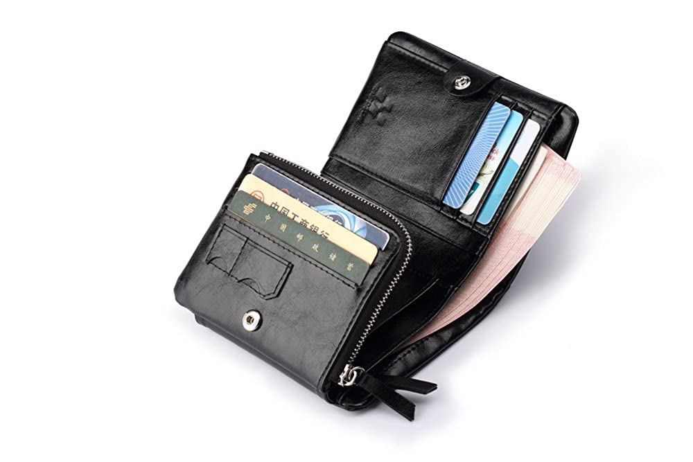 ID Pouch Hautton Leather Tri Fold Wallet Micro SD Double Stud Fasten 9 credit Card Slots