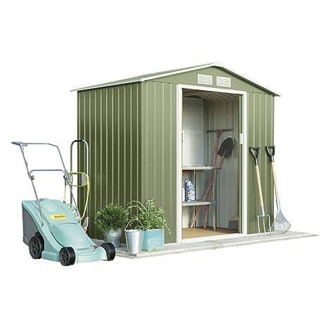 Metal caseta de jardín pequeña para exteriores de almacenamiento con puertas correderas, rampa y libre
