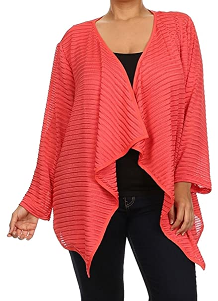 58bc801acae CurvyLuv Women s Plus Size Cardigan Textured Knit Long Sleeve Open Front  Draped Dressy (1X