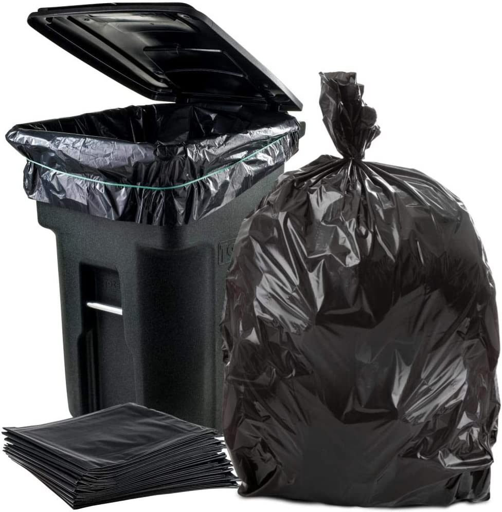 "Plasticplace 95-96 Gallon Garbage Can Liners │1.5 Mil │ Black Heavy Duty Trash Bags │ 61"" X 68"" (25Count)"