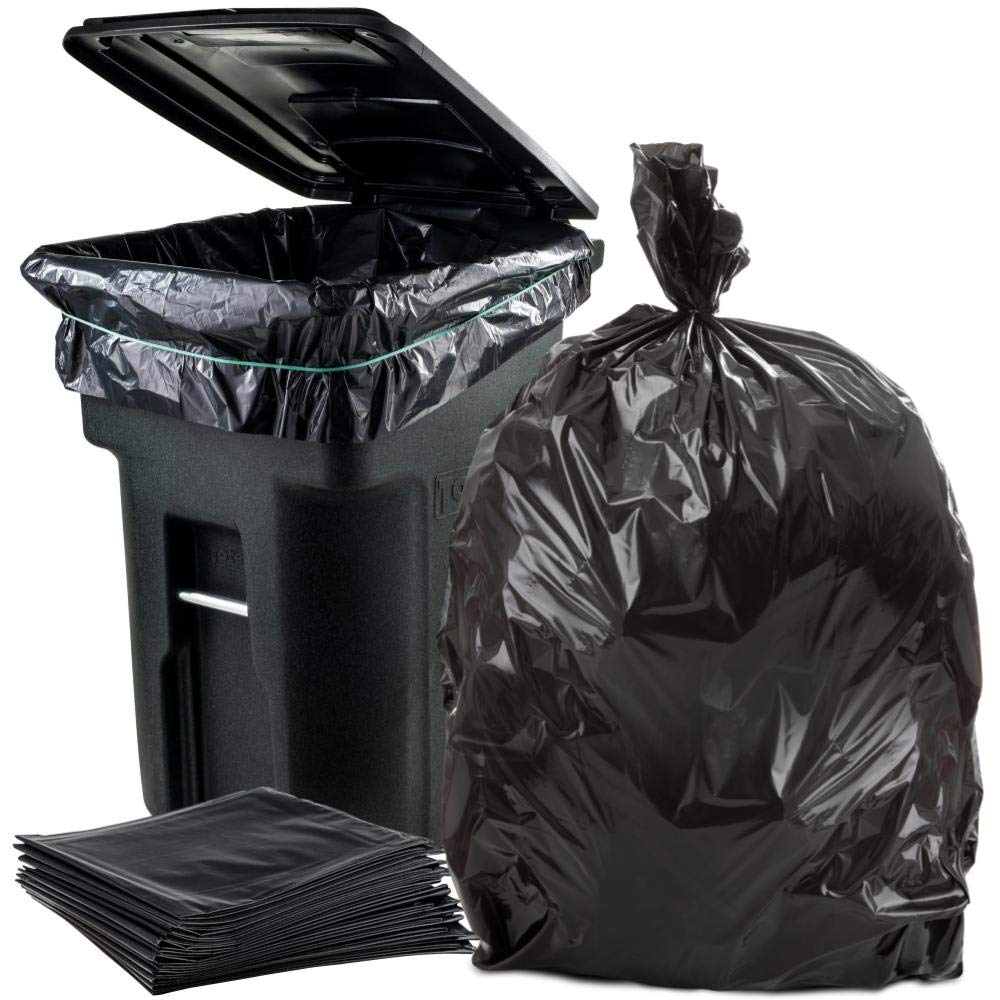 Plasticplace 95-96 Gallon Garbage Can Liners │ 2 Mil │ Black Heavy Duty Trash Bags │ 61'' x 68'', 25 Count by Plasticplace