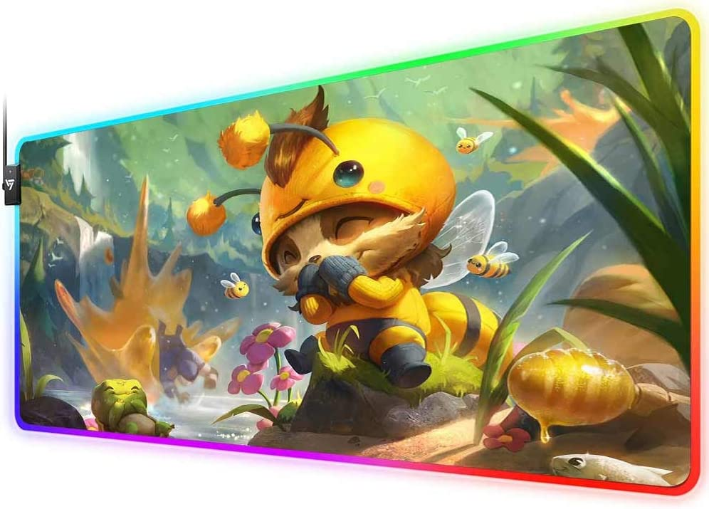 RGB Gaming Mouse Pad for Beemo Teemo, LED Soft Extra Extended Large Mouse Pad,Anti-Slip Rubber Base,Computer Keyboard Mouse Mat 31.5 X 12 Inch