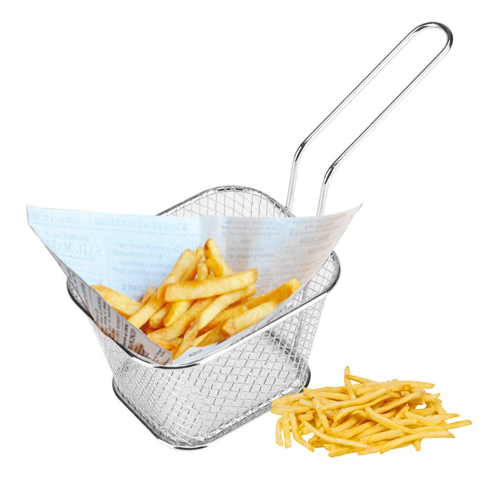 Kitchen Restaurant Cooking Tools Shrimps Chip Frying Serving Basket for Chips Onion Rings Fryer Basket for Chip 4 Pcs Stainless Steel Square Fries Basket for Fried Food