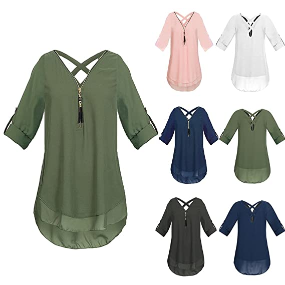 Amazon.com: HHei_K Womens Solid Color Plus Size V Neck Zipper Chiffon T-Shirts Casual Cross Bandage Scoop Hem Loose Tops Tunic Blouse: Clothing