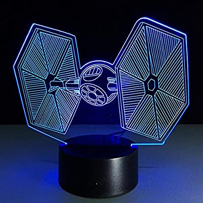 Led USB 7 Colors Changing Creative Gifts Star Wars Tie Fighter Lamp 3D Deco Vision Desk Lampara Baby Sleeping Night Light