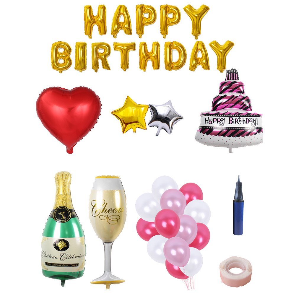 BESTOYARD Happy Birthday Cake Champagne Cup Bottle Foil Balloon Birthday Party Pack