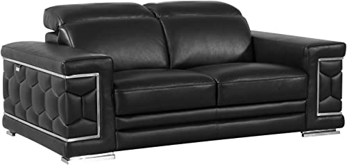 Blackjack Furniture The Usry Collection Italian Leather Upholstered Living Room Loveseat