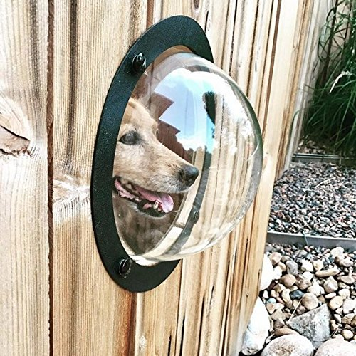 Do4u Pet Dog Fence Window Pet Peek Bubble Large Size Durable Acrylic Dome Window For Pets  Cats  Dogs See Outside Relieve Anxiety Reduced Barking  Black