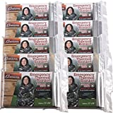 gear 10 - Grizzly Gear Emergency Thermal Blankets- NASA Mylar Waterproof Heat Retaining Survival Blankets (10 Pack)- For Hiking, Camping, Car and More