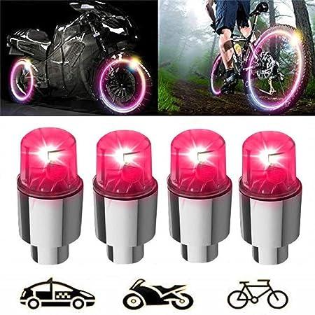 2019 2 Pezzi LED Auto Bici Ruota Pneumatico valvola Antipolvere Tappo Antipolvere Raggi Flash luci steli valvole e Tappi Accessori Auto Color : Red KangFang-Ge