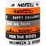 FEPITO 35 Pcs Halloween Wristband Silicone Wristbands 7 Classic Halloween Patterns Rubber Band Bracelets