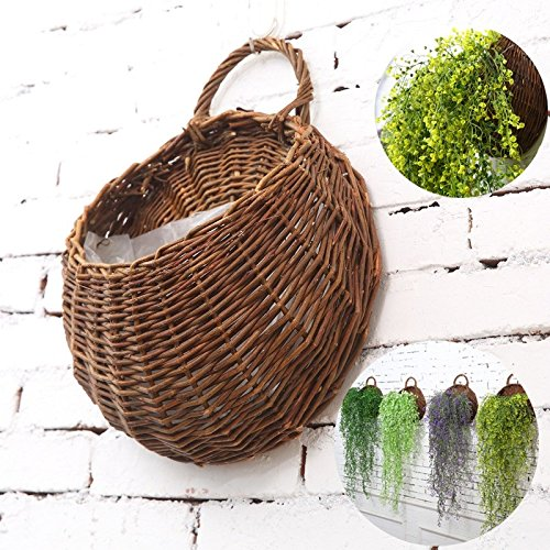 SODIAL Artificial Flowers Wall Mounted Basket Wall hanging plant pots Wicker Wall Basket Hanging Planters for Garden Wedding Wall Home Decoration Door Decor