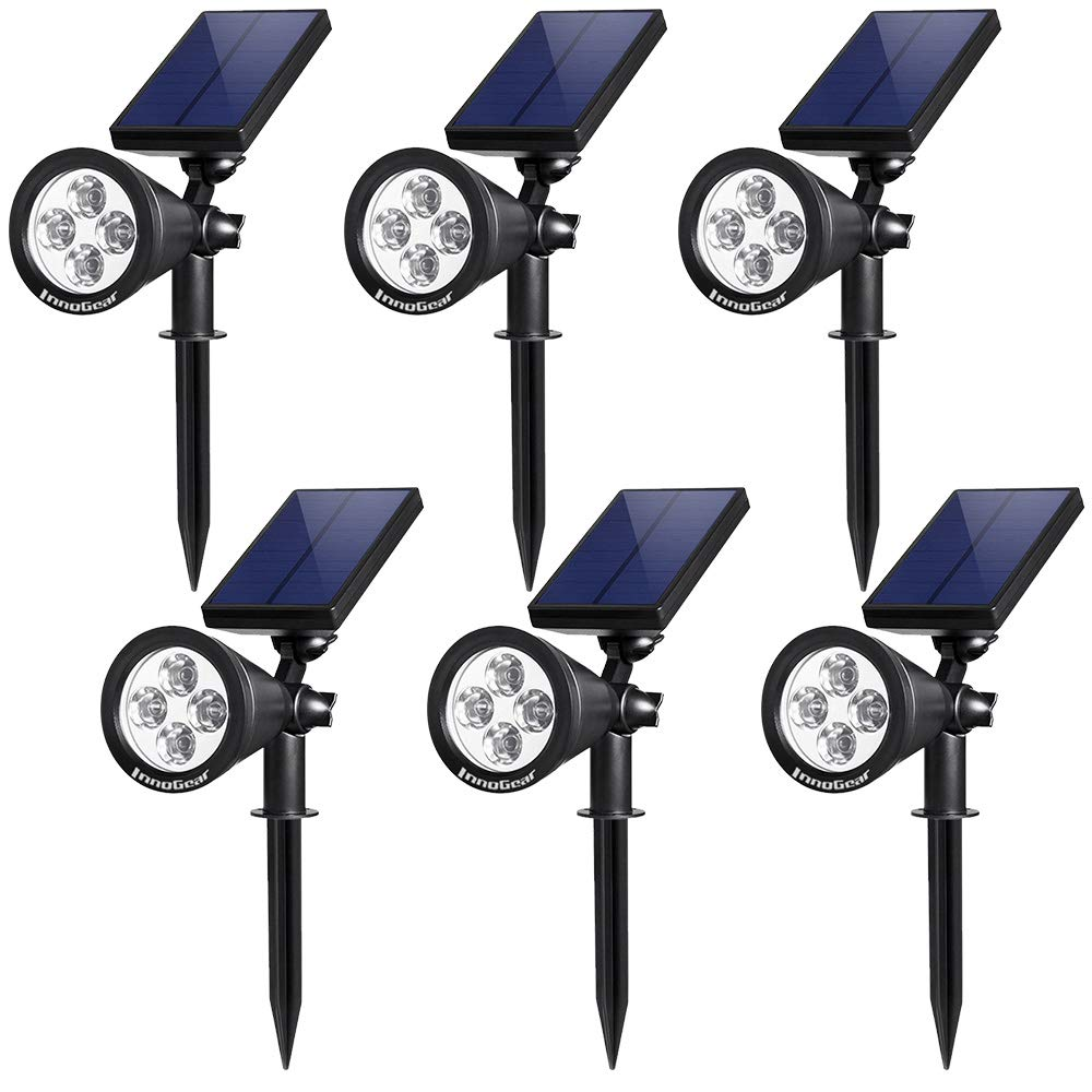 InnoGear Upgraded Solar Lights 2-in-1 Waterproof Outdoor Landscape Lighting Spotlight Wall Light Auto On/Off for Yard Garden Driveway Pathway Pool,Pack of 6 (White Light) by InnoGear