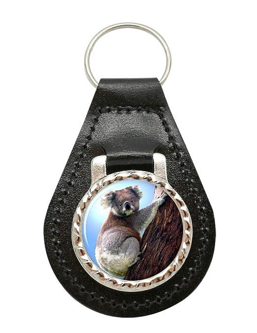 Family Crests Koala - Llavero de medallón de cuero y metal ...