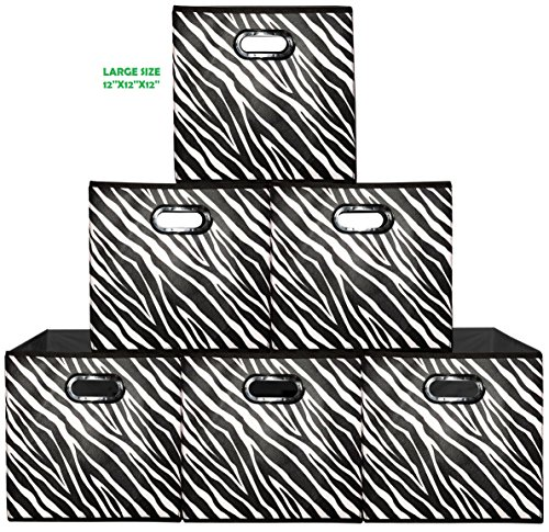 Large Collapsible Storage ((6 Pack, ZEBRA) Storage Bins (Large), Containers, Boxes, Tote, Baskets| Collapsible Storage Cubes For Household Organization | Plastic Dual Handle | Storages Drawer … (6PK, Zebra Large))